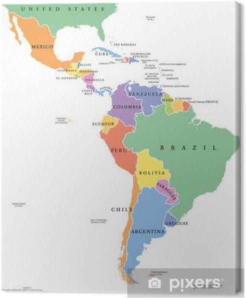 Cartina America Meridionale Politica.Quadro Su Tela America Latina Afferma Singola Mappa Politica I Paesi In Diversi Colori Con I Confini Nazionali Ei Nomi Di Campagna Inglese Dal
