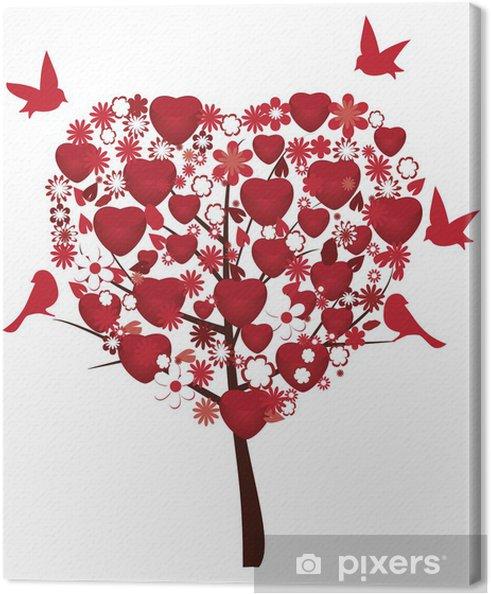 Quadro su Tela Amore albero con cuori rossi, fiori e uccelli ...