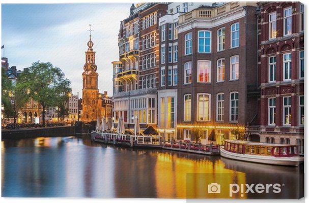 Quadro su Tela Amsterdam paesaggio urbano con la Torre della Zecca al crepuscolo - Temi