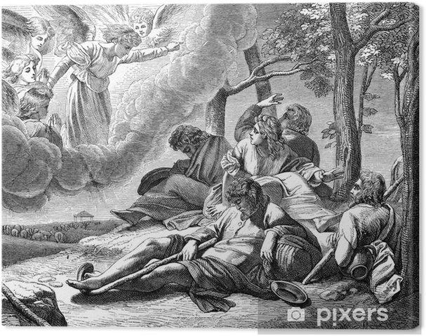 Quadro su tela annuncio ai pastori la nascita di gesù cristo