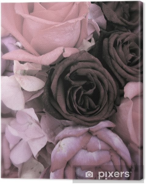 Quadro su Tela Antique mazzo di rose rosa e peonie - Felicità