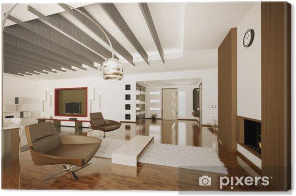 Quadro su tela appartamento moderno interior 3d rendering for Interior design appartamento moderno