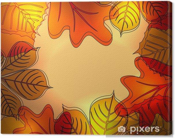 Quadro su tela astratto autunno sfondo luminoso con le foglie