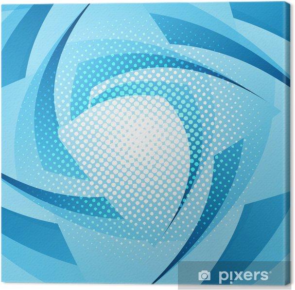 Quadro Su Tela Astratto Geometrico Blu Colorato Ricciolo Onda Sfondo