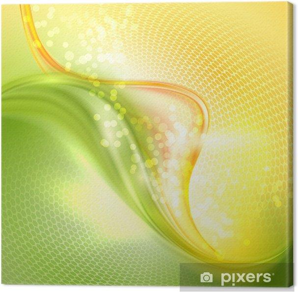 Quadro Su Tela Astratto Verde E Giallo Agitando Sfondo Pixers