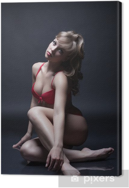 7360b0a5d3 Quadro su Tela Attraente bruna in posa in lingerie rossa • Pixers ...