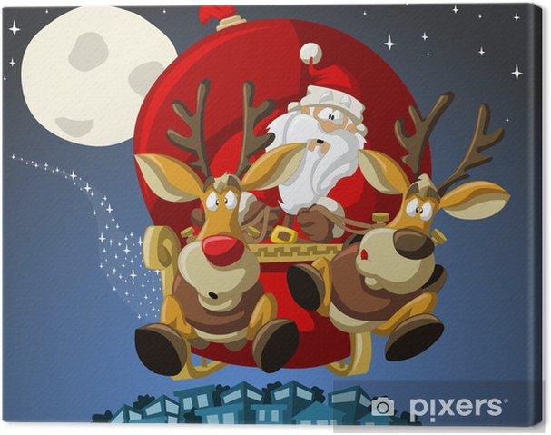 Babbo Natale Con Le Renne.Quadro Su Tela Babbo Natale Su Slitta Con Renne Pixers Viviamo