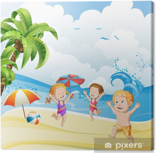 Quadro Su Tela Bambini Che Giocano Alla Spiaggia Pixers Viviamo