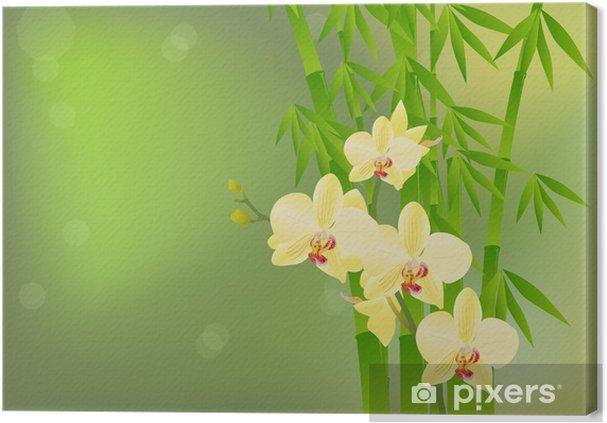 Quadro Su Tela Bambù E Giallo Orchidea Fiori Su Sfondo Verde