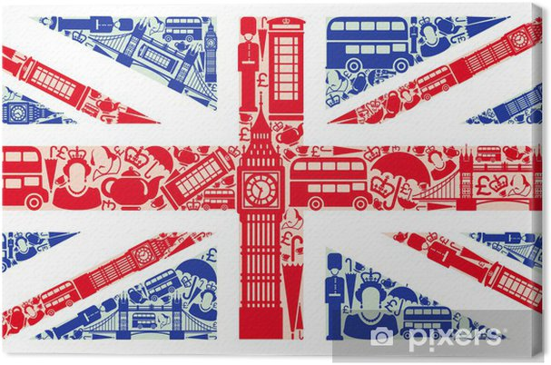 Quadro Su Tela Bandiera Dellinghilterra Dai Simboli Del Regno Unito