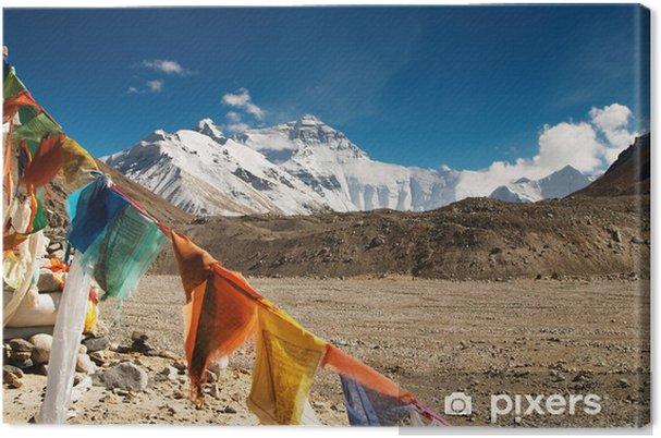 Quadro su Tela Bandiere di preghiera buddisti e monte Everest - Temi