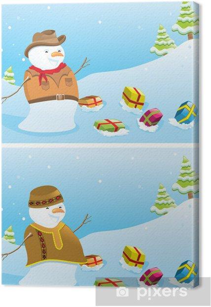 Immagini Di Natale Pupazzi Di Neve.Quadro Su Tela Banner Di Natale Con I Pupazzi Di Neve