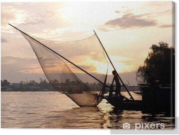 Quadro su Tela Barca da pesca con rete silhouette - Asia