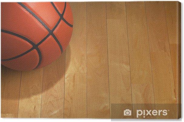 Quadro su tela basket con illuminazione posto sul pavimento in legno