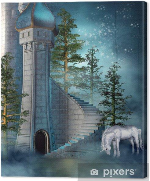 Quadro su Tela Baśniowa Wieża Zamkowa z jednorożcem - Temi