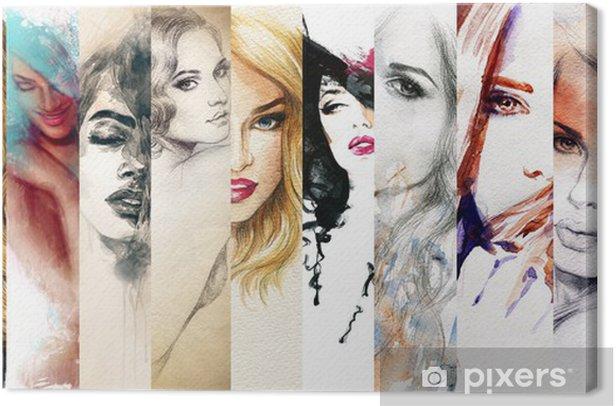 Quadro su Tela Bella donna di fronte. acquerello illustrazione - Moda