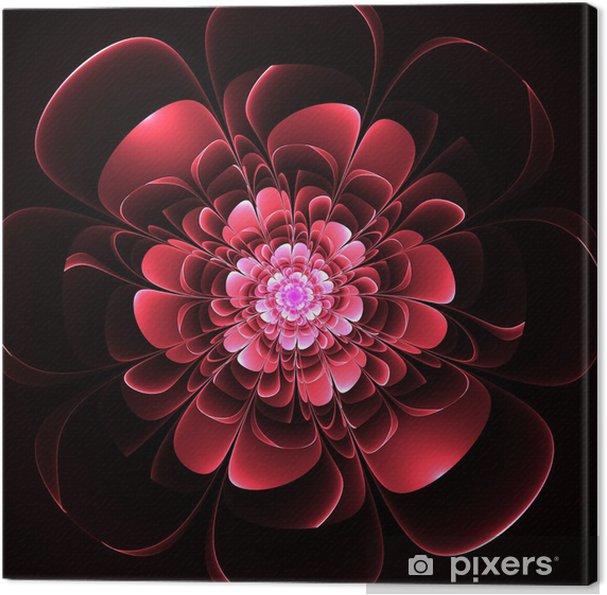 Quadro Su Tela Bella Fiore Rosso Su Sfondo Nero Rendering Gra