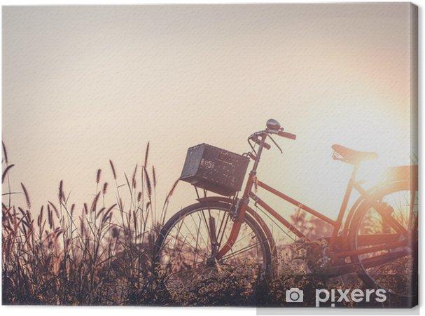 Quadro Su Tela Bella Immagine Del Paesaggio Con La Bicicletta Al Tramonto Sul Prato Di Campo Di Vetro Estate O Sfondo Stagione Primaverile