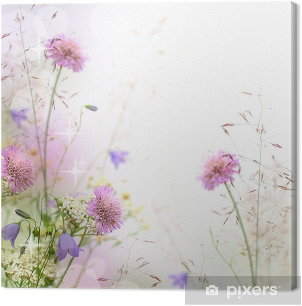 Quadro su Tela Bella pastello bordo floreale - sfondo sfocato - iStaging