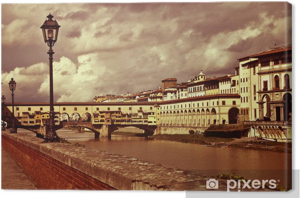 Quadro su Tela Bella Ponte Vecchio a Firenze, Italia - in stile vintage - Temi