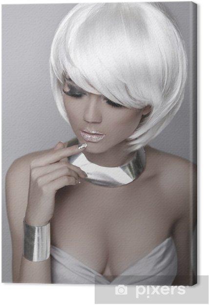 Quadro su Tela Bellezza Ritratto della donna. Capelli corti bianchi.  Acconciatura. innamorato f3f289a13e04