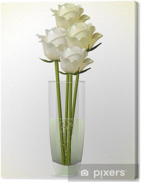 Quadro Su Tela Bianchi E Avorio Rose In Un Vaso Di Vetro Su Uno