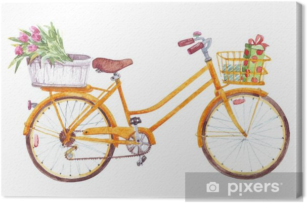 Quadro Su Tela Bicicletta Gialla Con Cesto Di Fiori Regali