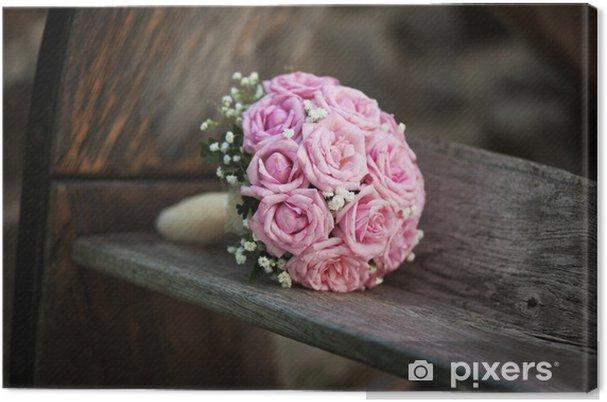 Immagini Di Bouquet Da Sposa.Quadro Su Tela Bouquet Da Sposa Di Rose Rosa Su Panca Di Legno