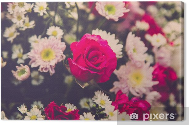 Quadro su Tela Bouquet di rose di nozze fiore. Filtro Retro - Piante & Fiori
