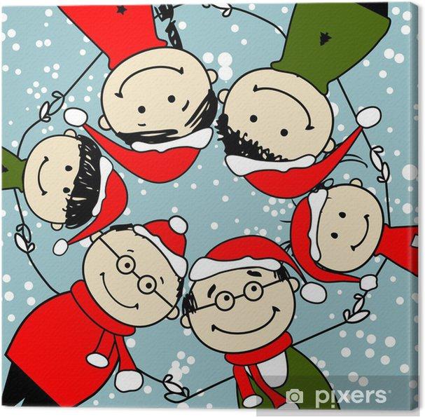 Buon Natale Famiglia.Quadro Su Tela Buon Natale Famiglia Felice Illustrazione Per Il