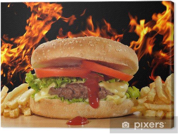 Quadro su Tela Burger dripping ketchup. - Temi