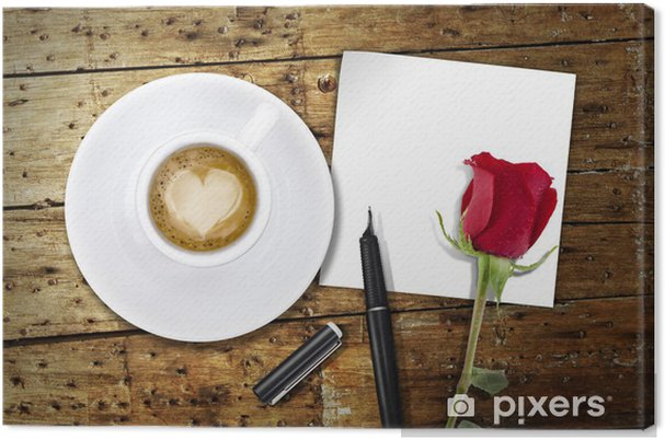 San Valentino Tavolo.Quadro Su Tela Caffe Sul Giorno Di San Valentino Tavolo In Legno Vintage Valentino Indietro