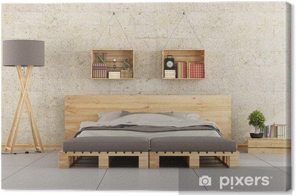 Quadro su Tela Camera da letto moderna con letto pallet sul muro di mattoni