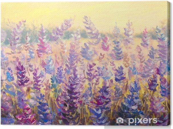 Quadro su Tela Campo di fiori delicati di fronte a una foresta ...