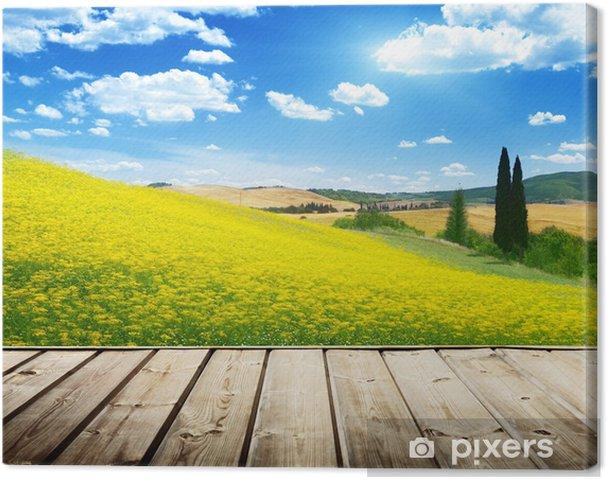 Fiori Gialli Toscana.Quadro Su Tela Campo Di Fiori Gialli Toscana Italia Pixers