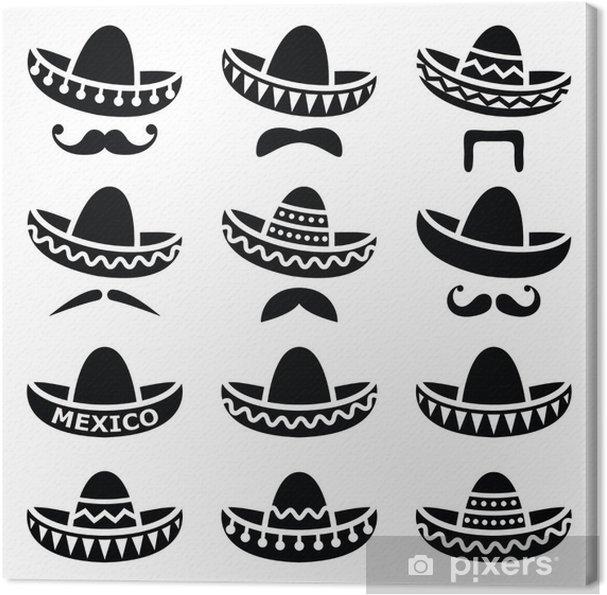 Quadro su Tela Cappello Sombrero messicano con baffi o baffi icone ... f0ba79b89714