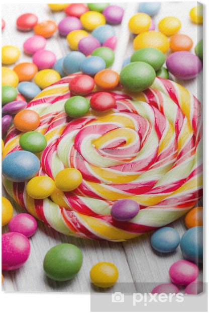 Quadro su Tela Caramelle colorate e lecca-lecca - Temi