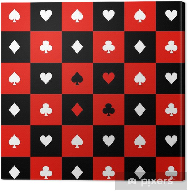 Quadro su Tela Carta adatta illustrazione vettoriale di sfondo rosso nero bianco scacchiera - Risorse Grafiche