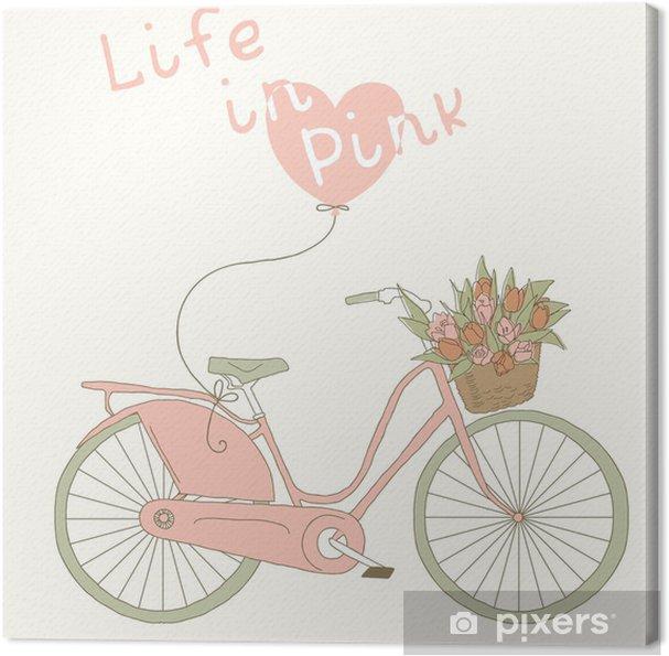 Quadro Su Tela Carta Di San Valentino Con La Bicicletta Rosa La Vita In Colore Rosa