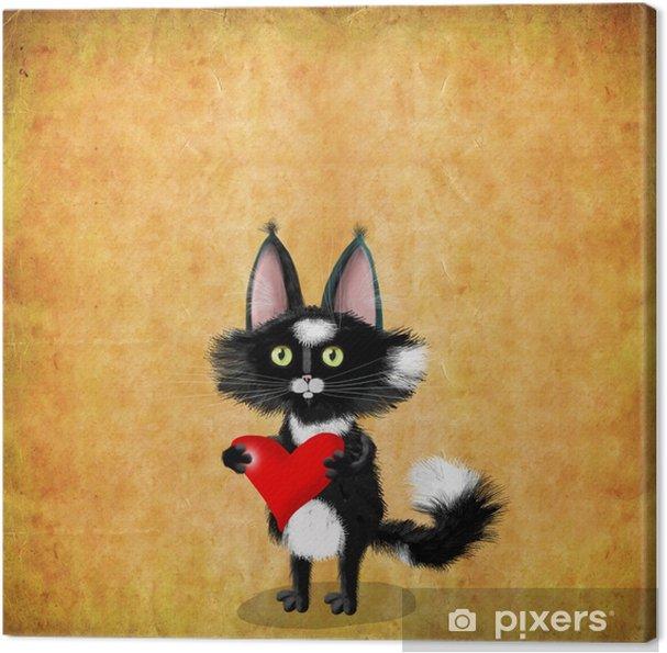 Quadro Su Tela Carta Di San Valentino Gatto Nero Con Cuore Rosso