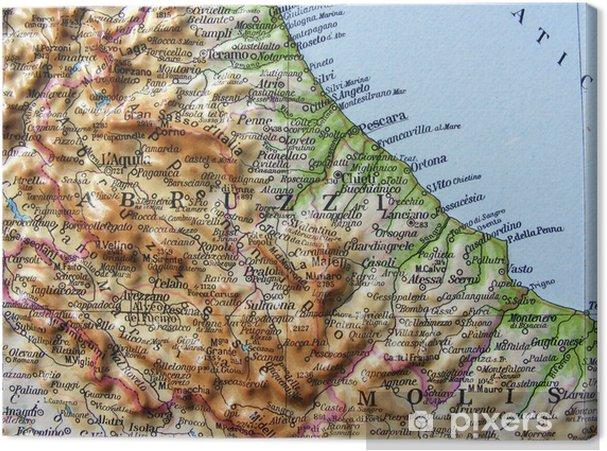 Cartina Abruzzo Molise Mare.Quadro Su Tela Carta Geografica Dell Abruzzo E Del Molise Pixers