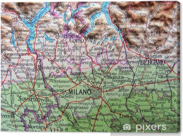 Cartina Geografica Italia Lombardia.Quadro Su Tela Carta Geografica Della Lombardia
