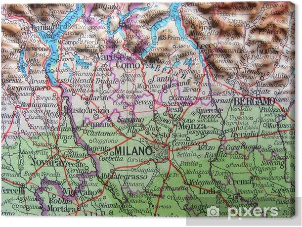 Cartina Stradale Lombardia Da Stampare.Quadro Su Tela Carta Geografica Della Lombardia Pixers Viviamo Per Il Cambiamento