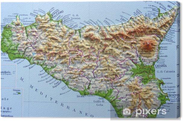 Sicilia Geografica Cartina.Quadro Su Tela Carta Geografica Della Sicilia