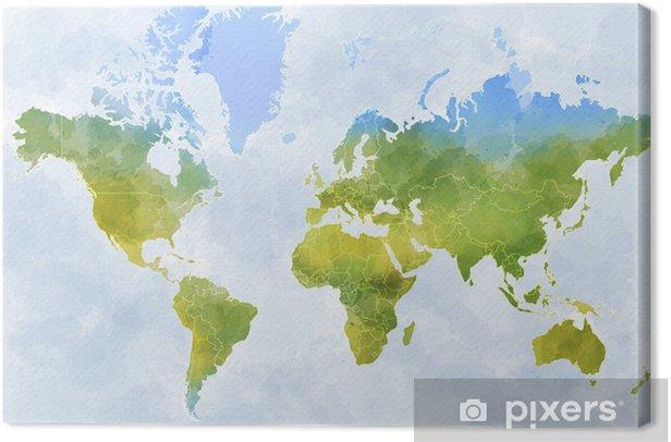 Quadro Cartina Mondo.Quadro Su Tela Cartina Mondo Disegnata Illustrata Pennellate Confini Stati Pixers Viviamo Per Il Cambiamento