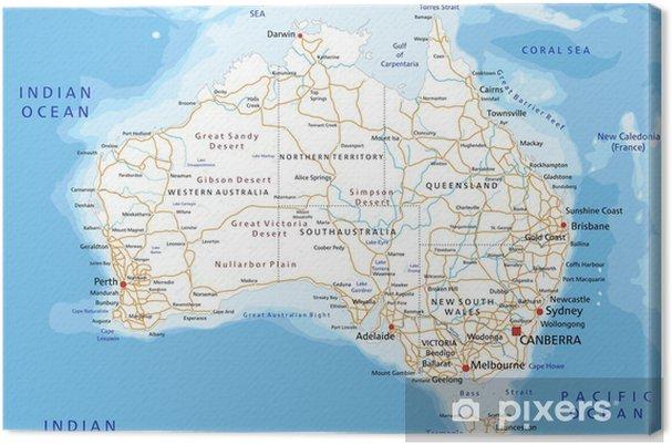Cartina Stradale Nord Italia Da Stampare.Quadro Su Tela Cartina Stradale Dettagliata Alta L Australia Con L Etichettatura Pixers Viviamo Per Il Cambiamento