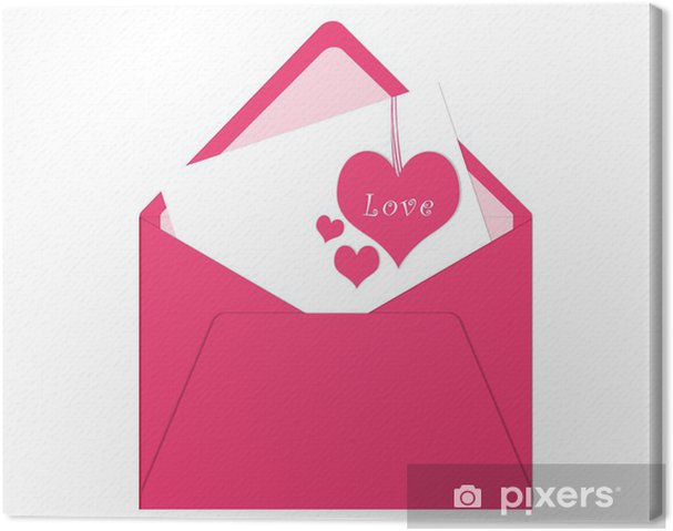 Quadro su Tela Cartolina con busta e carta con cuori rosa • Pixers ...