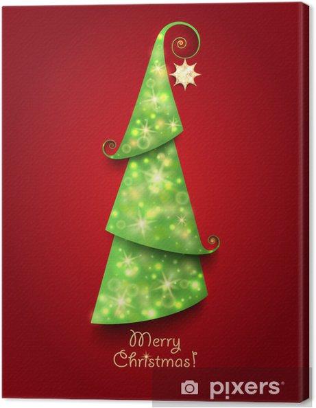 Cartoline Di Auguri Di Natale.Quadro Su Tela Cartolina Di Auguri Di Natale Albero Di Natale Verde