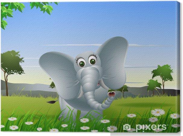 Quadro su tela cartone animato elefante con sfondo la natura