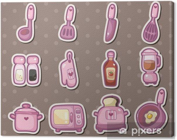 Quadro su Tela Cartoni animati adesivi utensili da cucina • Pixers ...